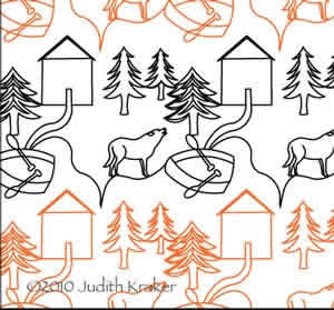 Digital Quilting Design Cabin Wolf Boat Panto/Border by Judith Kraker.