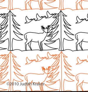 Digital Quilting Design Deer Geese Trees Panto by Judith Kraker.