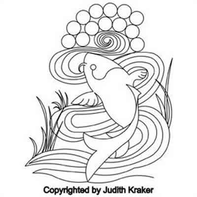 Digital Quilting Design Koi Swirl Block by Judith Kraker.