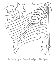 American Flag Block America's Pride by Judy Lyon. This image demonstrates how this computerized pattern will stitch out once loaded on your robotic quilting system. A full page pdf is included with the design download.