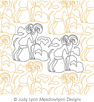 Bighorn Sheep Panto by Judy Lyon. This image demonstrates how this computerized pattern will stitch out once loaded on your robotic quilting system. A full page pdf is included with the design download.