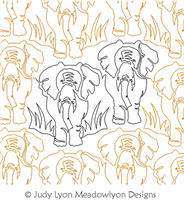 Elephant Jungle Panto by Judy Lyon. This image demonstrates how this computerized pattern will stitch out once loaded on your robotic quilting system. A full page pdf is included with the design download.