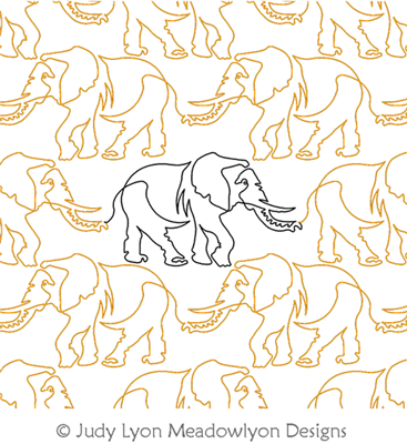 Elephant Panto by Judy Lyon. This image demonstrates how this computerized pattern will stitch out once loaded on your robotic quilting system. A full page pdf is included with the design download.