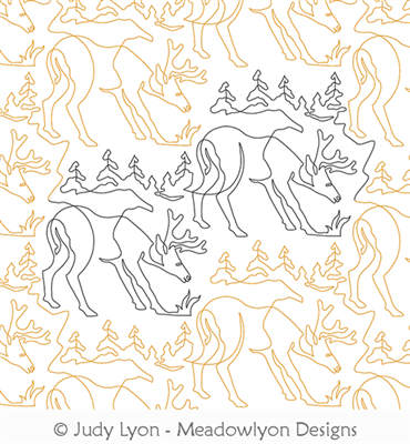 Elk Camp Out Panto by Judy Lyon. This image demonstrates how this computerized pattern will stitch out once loaded on your robotic quilting system. A full page pdf is included with the design download.