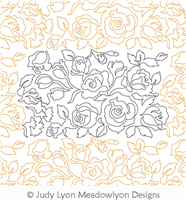 Floribunda Bouquet by Judy Lyon. This image demonstrates how this computerized pattern will stitch out once loaded on your robotic quilting system. A full page pdf is included with the design download.