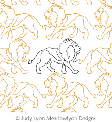 Lion Panto by Judy Lyon. This image demonstrates how this computerized pattern will stitch out once loaded on your robotic quilting system. A full page pdf is included with the design download.