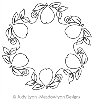 Pear Vine Wreath by Judy Lyon. This image demonstrates how this computerized pattern will stitch out once loaded on your robotic quilting system. A full page pdf is included with the design download.