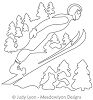 Ski Jump Winter Games by Judy Lyon. This image demonstrates how this computerized pattern will stitch out once loaded on your robotic quilting system. A full page pdf is included with the design download.