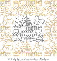 US Capitol Building Panto by Judy Lyon. This image demonstrates how this computerized pattern will stitch out once loaded on your robotic quilting system. A full page pdf is included with the design download.