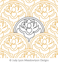 Water Lily - Oriental by Judy Lyon. This image demonstrates how this computerized pattern will stitch out once loaded on your robotic quilting system. A full page pdf is included with the design download.
