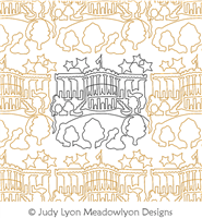 White House Panto by Judy Lyon. This image demonstrates how this computerized pattern will stitch out once loaded on your robotic quilting system. A full page pdf is included with the design download.