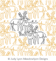 White Tailed Buck and Doe Panto by Judy Lyon. This image demonstrates how this computerized pattern will stitch out once loaded on your robotic quilting system. A full page pdf is included with the design download.