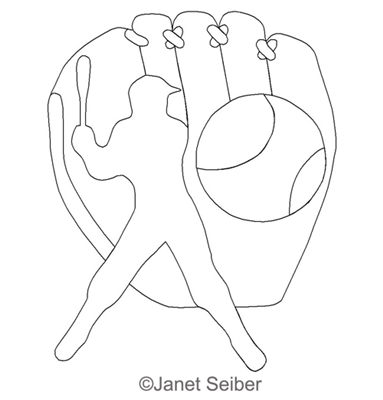 Digitized Longarm Quilting Design Baseball Glove Motif was designed by Janet Seiber.
