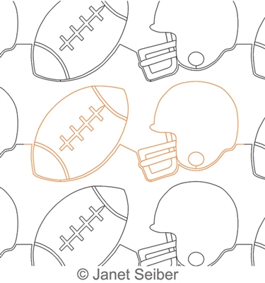 Digitized Longarm Quilting Design Football and Helmet Border or Panto was designed by Janet Seiber.