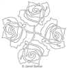 Digitized Longarm Quilting Design Four Roses Motif was designed by Janet Seiber.
