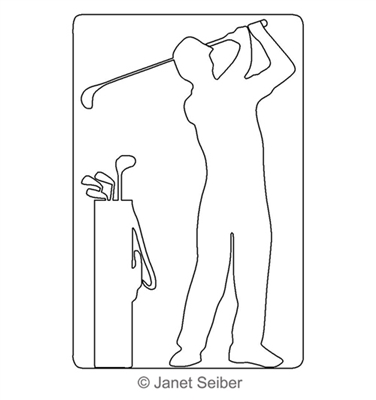 Digitized Longarm Quilting Design Golfer with Bag Motif was designed by Janet Seiber.