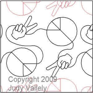 Digital Quilting Design Peace and Love by Judy Vallely.