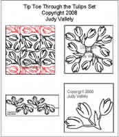 Digital Quilting Design Tip Toe Through the Tulips Set by Judy Vallely.