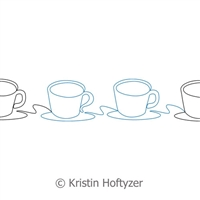 Digital Quilting Design Coffee Cup Border by Kristin Hoftyzer.