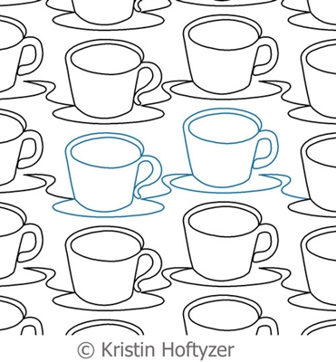 Digital Quilting Design Coffee Cups Panto by Kristin Hoftyzer.