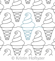 Digital Quilting Design Ice Cream Cone by Kristin Hoftyzer.
