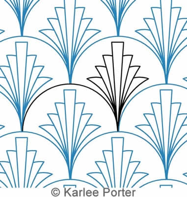 Digital Quilting Design Clamshell Palm by Karlee Porter.