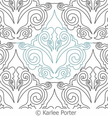 Digital Quilting Design Damask Curl by Karlee Porter.
