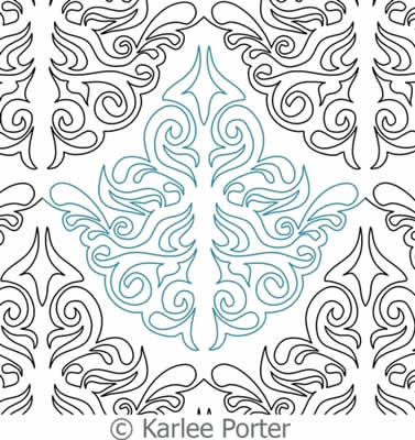 Digital Quilting Design Damask Leaf by Karlee Porter.