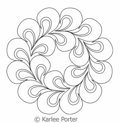 Digital Quilting Design Echo Feather Wreath by Karlee Porter.