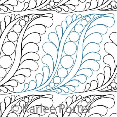 Digital Quilting Design Pea Pod Feathers by Karlee Porter.