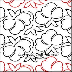 Digital Quilting Design Cotton Blossoms by Karen Thompson.
