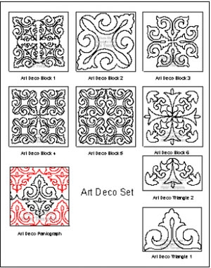 Digital Quilting Design Art Deco Set by Karen Thompson.