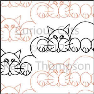 Digital Quilting Design Curious-Cats by Karen Thompson.