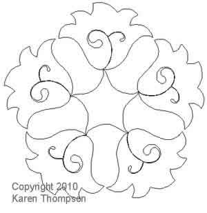 Digital Quilting Design Dutch Treat Wreath by Karen Thompson.