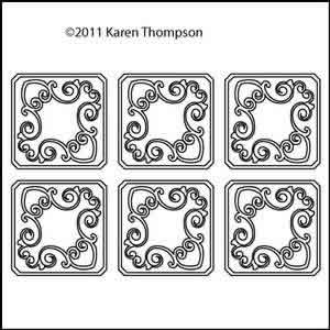 Digital Quilting Design Heart Scroll Coasters by Karen Thompson.