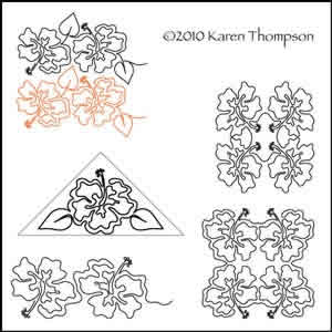 Digital Quilting Design Hibiscus Holiday  Set by Karen Thompson.