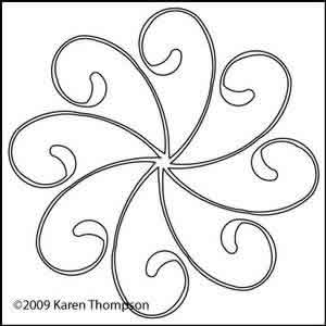 Digital Quilting Design Lacey Daisy Wreath 3 by Karen Thompson.