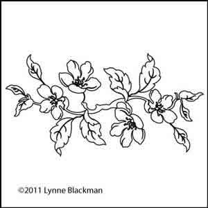 Digital Quilting Design Apple Blossom Branch by Lynne Blackman.