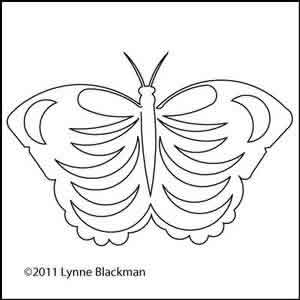 Digital Quilting Design Blue Butterfly by Lynne Blackman.