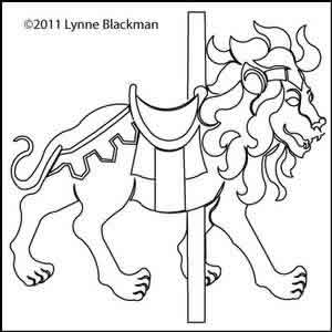 Digital Quilting Design Carousel Lion by Lynne Blackman.