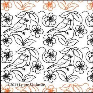 Digital Quilting Design Chickadee Flower by Lynne Blackman.