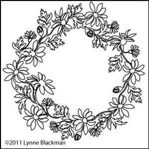 Digital Quilting Design Daisy Chain Wreath by Lynne Blackman.