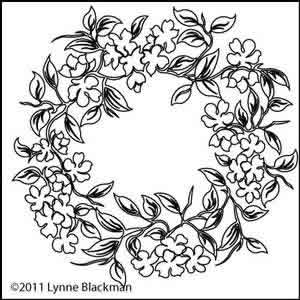 Digital Quilting Design Dogwood Wreath by Lynne Blackman.