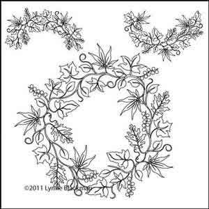 Digital Quilting Design Leaf Wreath 1 Set by Lynne Blackman.