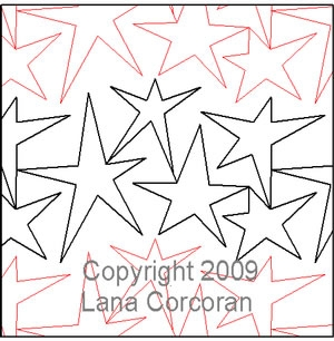 Digital Quilting Design All Stars by Lana Corcoran.