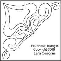 Digital Quilting Design Four Fleur Triangle by Lana Corcoran.