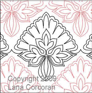 Digital Quilting Design Patrician Petals by Lana Corcoran.