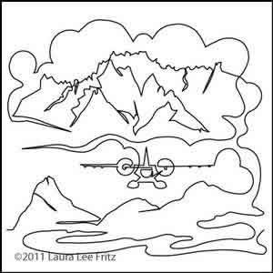 Digital Quilting Design Alaska Adventure Plane by LauraLee Fritz.