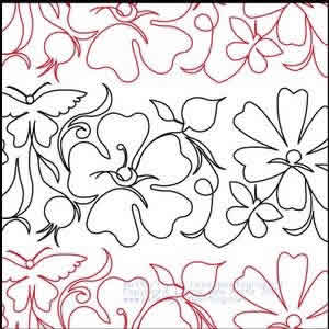 Digital Quilting Design Butterfly and Wild Roses Panto #1 by LauraLee Fritz.