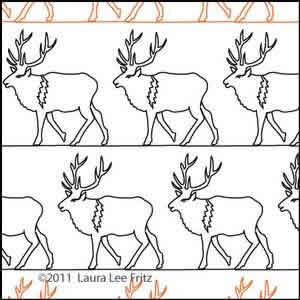 Digital Quilting Design Elk by LauraLee Fritz.